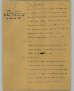 Primary view of object titled '[News Script: Car explodes]'.
