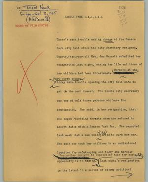 Primary view of object titled '[News Script: Sansom Park]'.