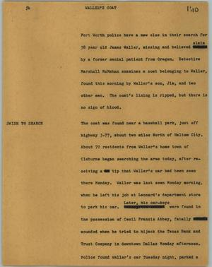 Primary view of object titled '[News Script: Waller's coat]'.