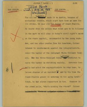 Primary view of object titled '[News Script: Joiner * March]'.