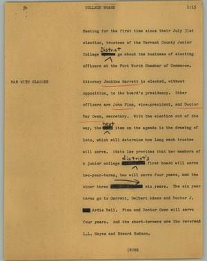 Primary view of object titled '[News Script: College board]'.