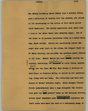 Primary view of object titled '[News Script: Pearls]'.