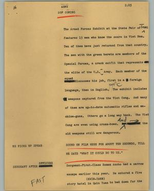 Primary view of object titled '[News Script: Army]'.