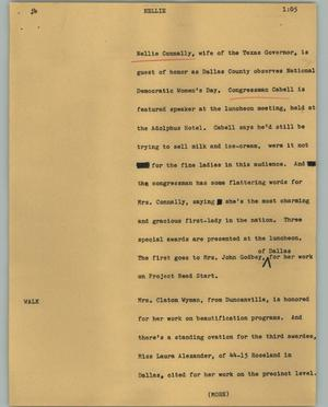 Primary view of object titled '[News Script: Nellie]'.