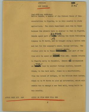 Primary view of object titled '[News Script: Africans]'.