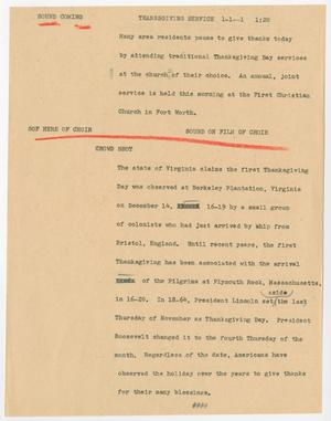 Primary view of object titled '[News Script: Thanksgiving service]'.
