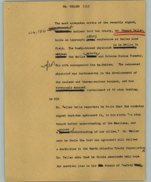 Primary view of object titled '[News Script: Dr. Teller]'.