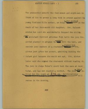 Primary view of object titled '[News Script: Alston murder case]'.
