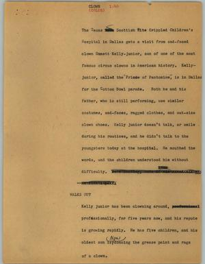 Primary view of object titled '[News Script: Clown]'.