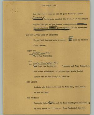 Primary view of object titled '[News Script: TCU grad]'.