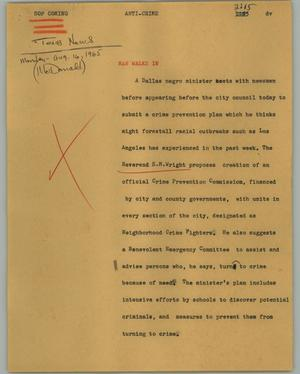 Primary view of object titled '[News Script: Anti-crime]'.
