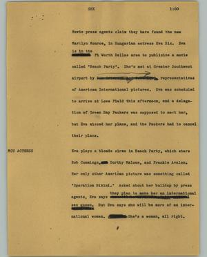 Primary view of object titled '[News Script: Sex]'.