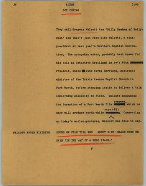 Primary view of object titled '[News Script: Actor]'.