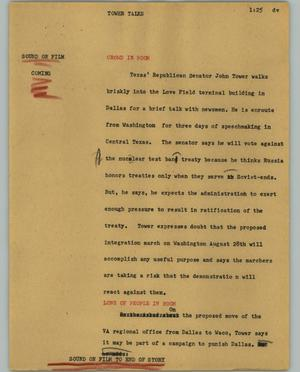 Primary view of object titled '[News Script: Tower talks]'.