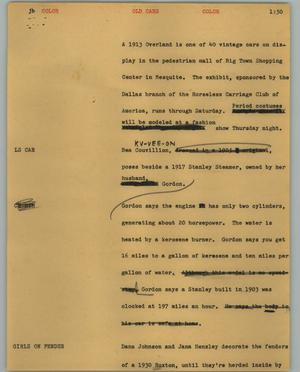 Primary view of object titled '[News Script: Old cars]'.