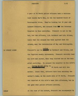 Primary view of object titled '[News Script: Prescott]'.