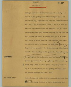 Primary view of object titled '[News Script: Garbage]'.