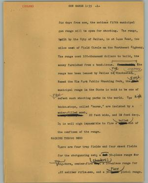 Primary view of object titled '[News Script: Gun range]'.