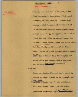 Primary view of object titled '[News Script: Dean Manion]'.