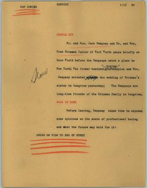 Primary view of object titled '[News Script: Dempsey]'.