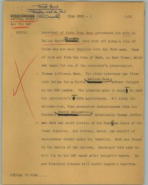 Primary view of object titled '[News Script: Dean Rusk]'.