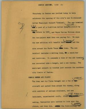 Primary view of object titled '[News Script: Denton airport]'.