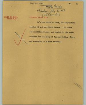 Primary view of object titled '[News Script: July 4th intro]'.