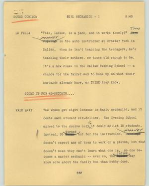 Primary view of object titled '[News Script: Girl mechanics]'.