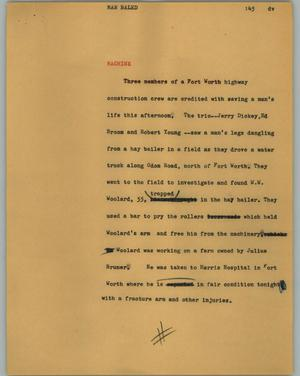 Primary view of object titled '[News Script: Man bailed]'.
