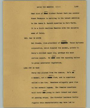 Primary view of object titled '[News Script: Percy the manatee]'.
