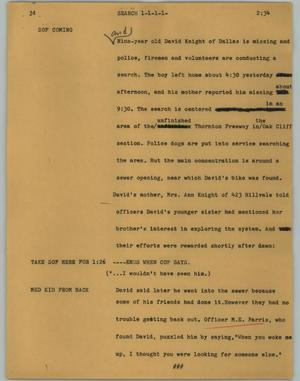 Primary view of object titled '[News Script: Search]'.