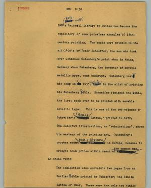 Primary view of object titled '[News Script: SMU]'.