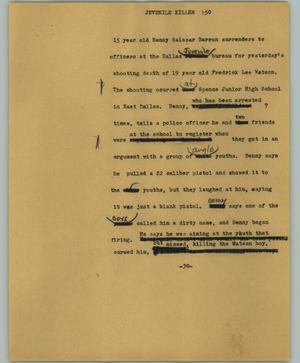 Primary view of object titled '[News Script: Juvenile killer]'.