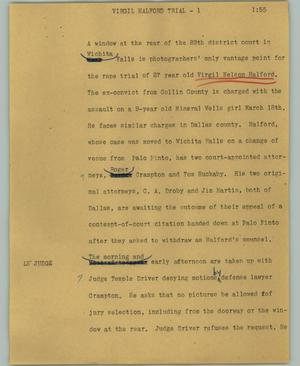 Primary view of object titled '[News Script: Virgil Halford trial]'.