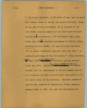 Primary view of object titled '[News Script: Judge Davidson]'.