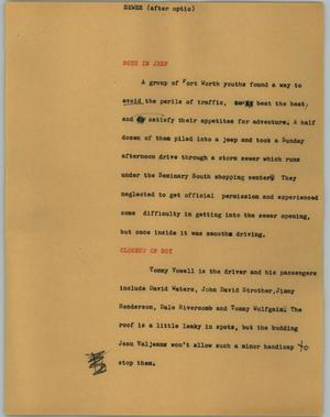 Primary view of object titled '[News Script: Sewer]'.
