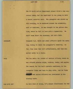 Primary view of object titled '[News Script: Lost kid]'.