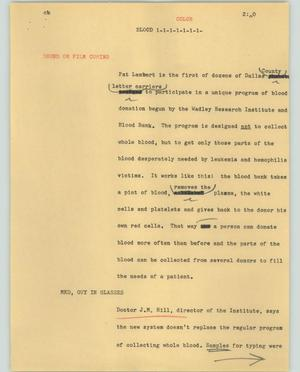Primary view of object titled '[News Script: Blood]'.