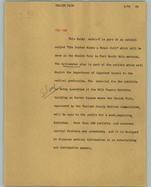 Primary view of object titled '[News Script: Health fair]'.