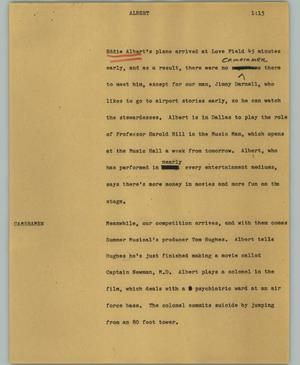 Primary view of object titled '[News Script: Albert]'.
