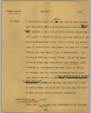Primary view of object titled '[News Script: Mariner]'.