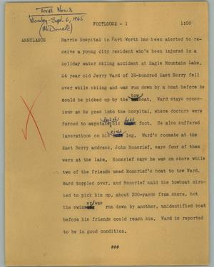 Primary view of object titled '[News Script: Footloose]'.