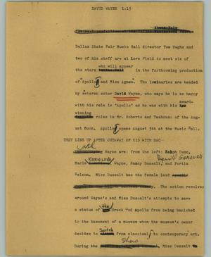 Primary view of object titled '[News Script: David Wayne]'.