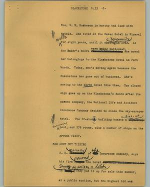 Primary view of object titled '[News Script: Blackstone]'.