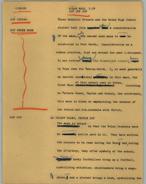 Primary view of object titled '[News Script: Nolan Mass]'.