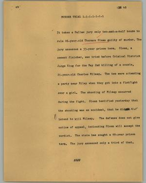 Primary view of object titled '[News Script: Murder trial]'.