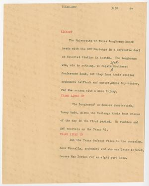 Primary view of object titled '[News Script: Texas-SMU]'.