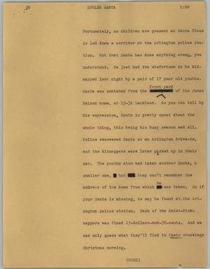 Primary view of object titled '[News Script: Stolen Santa]'.