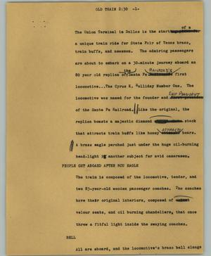 Primary view of object titled '[News Script: Old train]'.