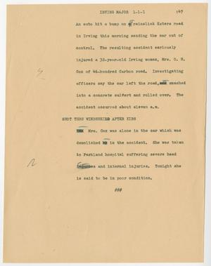 Primary view of object titled '[News Script: Irving major]'.